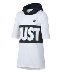 Camisola de Manga Curta Criança Nike B Nsw Tee Hoodie SS Jdi Band Branco Preto