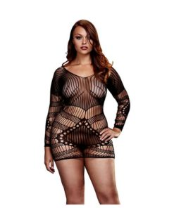 Mini Vestido de Renda Longsleeve Tamanho Rainha Baci Lingerie BW3129