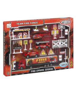 Playset de Veículos Fire Engine 110028 Bombeiro Vermelho (20 Pcs)