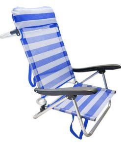 Cadeira Dobrável com Apoio para a Cabeça 111531 Azul Branco (65 X 48 x 82 cm)