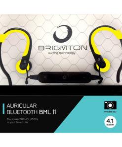 Auriculares Bluetooth com microfone para prática desportiva BRIGMTON BML-11 Amarelo