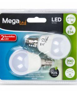 Lâmpada LED esférica MegaLed P45-5 5W E14 4000K 390 lm Luz branca (2 Pcs)