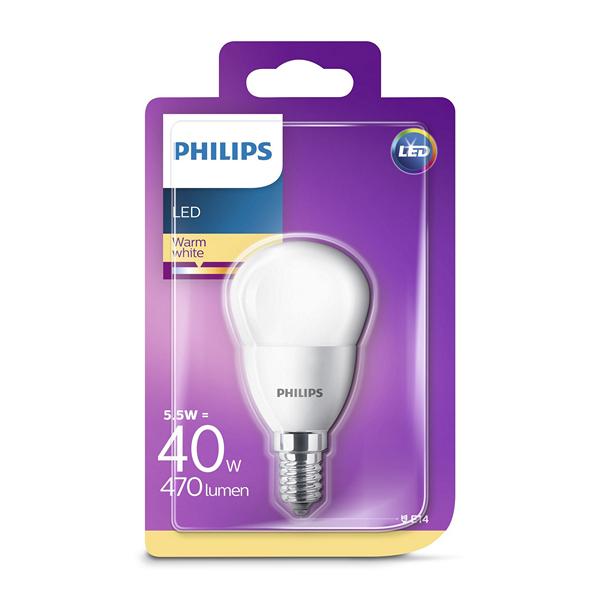 Lâmpada LED esférica Philips 5,5W A+ 2700K 470 lm Luz quente