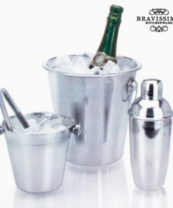Conjunto de Cocktail com Baldes e Shaker em Aço Inoxidável (4 pçs)