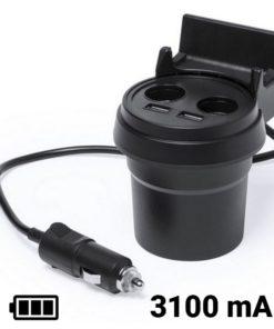 Carregador USB para Automóvel com Suporte para Telemóvel 3100 mAh 145534