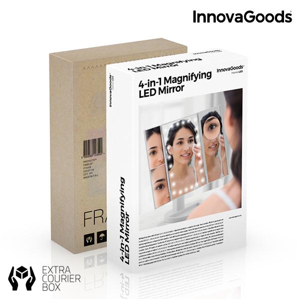 Espelho LED de Aumento 4 em 1 InnovaGoods