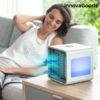 Mini Climatizador A Vapor Portátil com LED Freezy Cube InnovaGoods