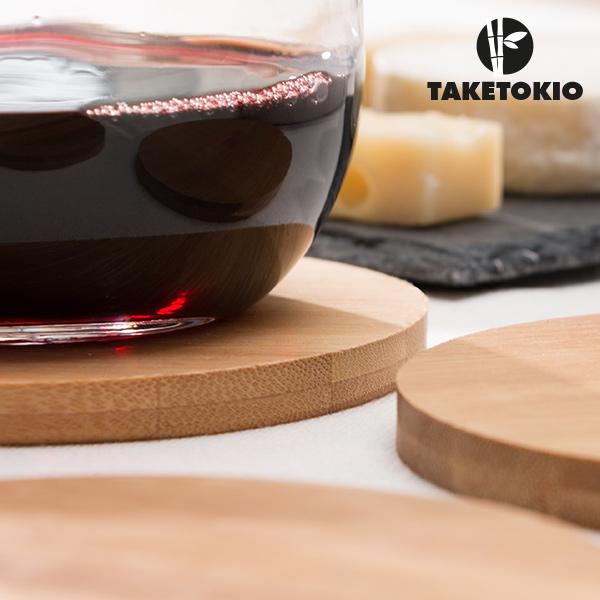 Conjunto de Bases para Copos em Bambu TakeTokio (conjunto de 4)