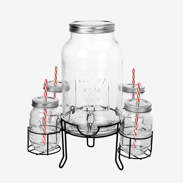 Dispensador de Bebidas com 4 Copos Vintage Coconut
