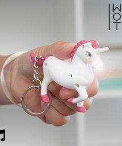 Porta-chaves Unicornio com LED e Som Wagon Trend