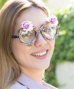 Óculos para Festas com Flores e Brilhantes Fashion