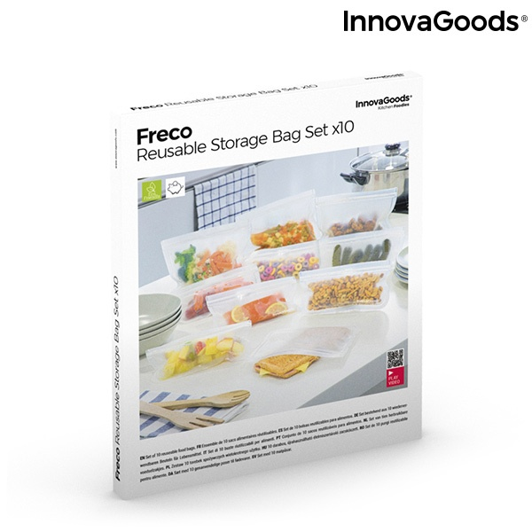 Conjunto de Sacos Reutilizáveis para Alimentos Freco InnovaGoods 10 Peças