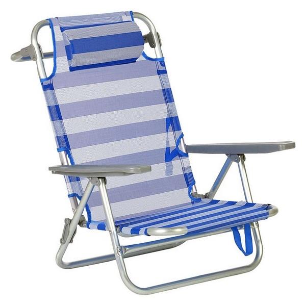 Cadeira Dobrável com Apoio para a Cabeça (66  x  59  x  77 cm) Alumínio 119667