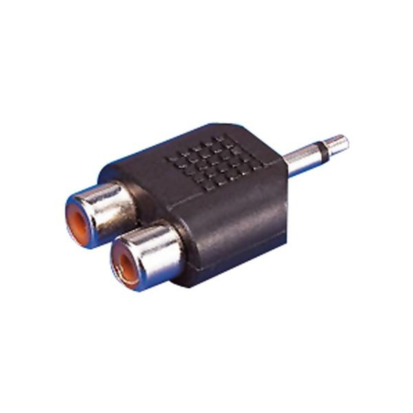 Adaptador Áudio Jack EDC 3,55 mm RCA x 2 Preto Fêmea