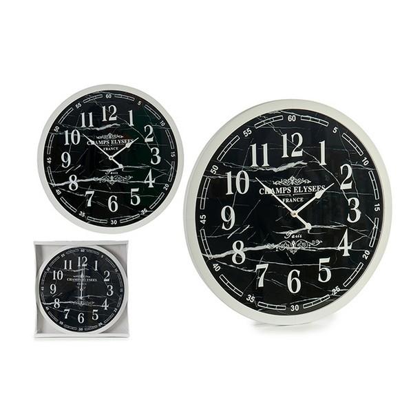 Relógio de Parede Branco Preto (3,5 x 60 x 60 cm)