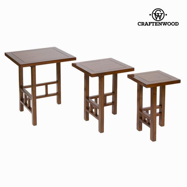 Jogo de 3 mesas Madeira de cedro Castanho - Serious Line Coleção by Craftenwood