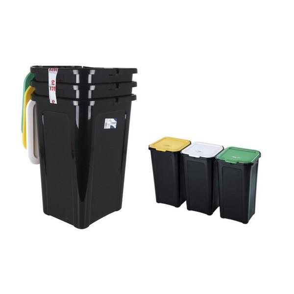 Caixote de Lixo para Reciclagem Tontarelli 44 L Preto (38,5 x 34,5 x 54,5 cm) (3 Uds)