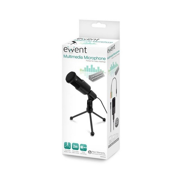 Microfone de mesa Ewent EW3552 3.5 mm Preto