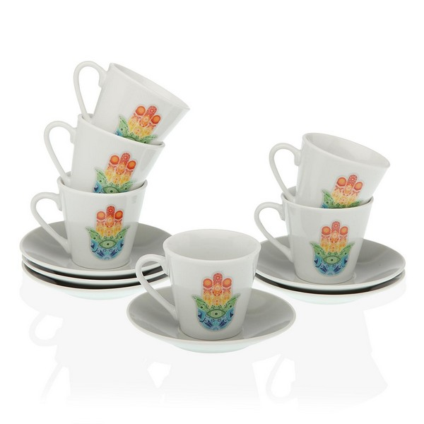 Conjunto de Chávenas de Café Hamsa Porcelana (12 Peças)