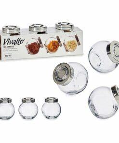 Conjunto de 3 Potes Cristal Com tampa (200 ml)