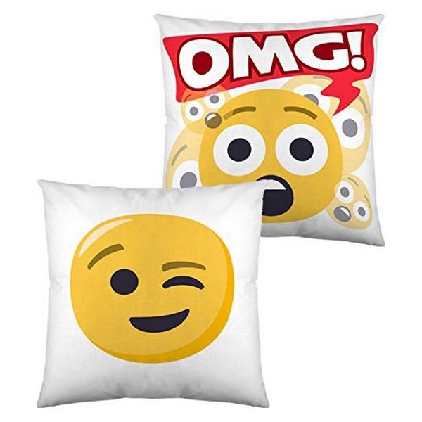 Almofada com Enchimento Emoji Winking Face and OMG (40 x 40 cm)