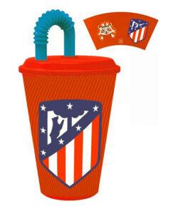 Copo com Tampa Atlético Madrid Plástico