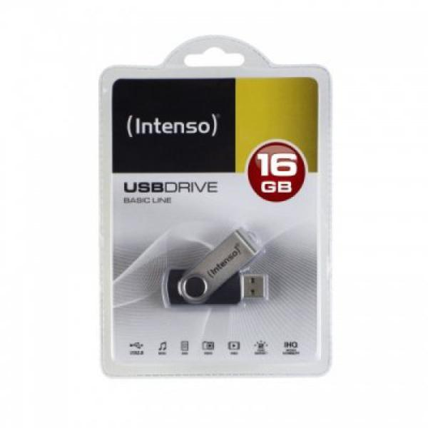 Memória USB INTENSO 3503470 16 GB Prata Preto