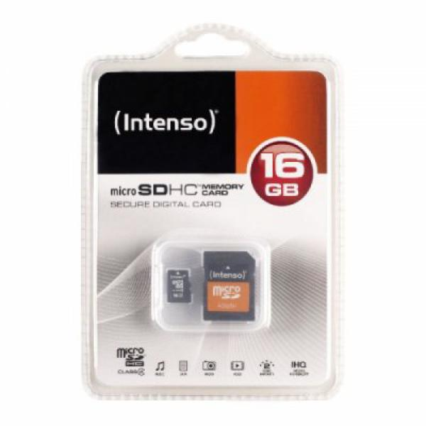Cartão de Memória Micro SD com Adaptador INTENSO 3413470 16 GB Classe 10