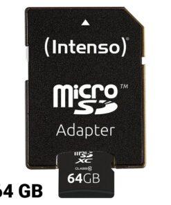 Cartão de Memória Micro SD com Adaptador INTENSO 3413490 64 GB Classe 10