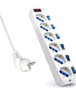 Extensão com 6 Tomadas com Interruptor Ewent EW3932-5M 3500W Branco