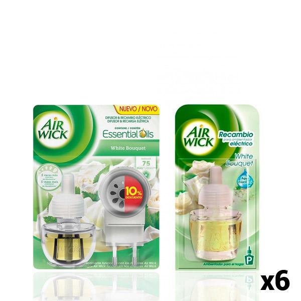 Pack Ambientador Elétrico + 6 Recargas Air Wick White Bouquet