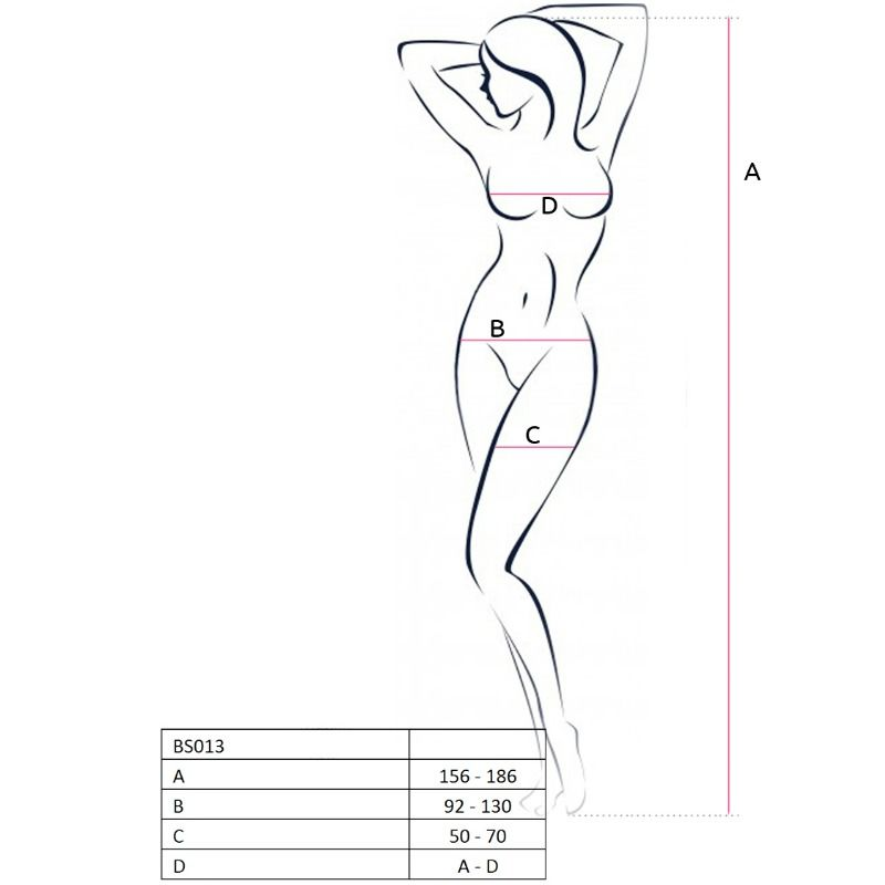 PASSION WOMAN BS013 BODYSTOCKING BLACK ONE SIZE