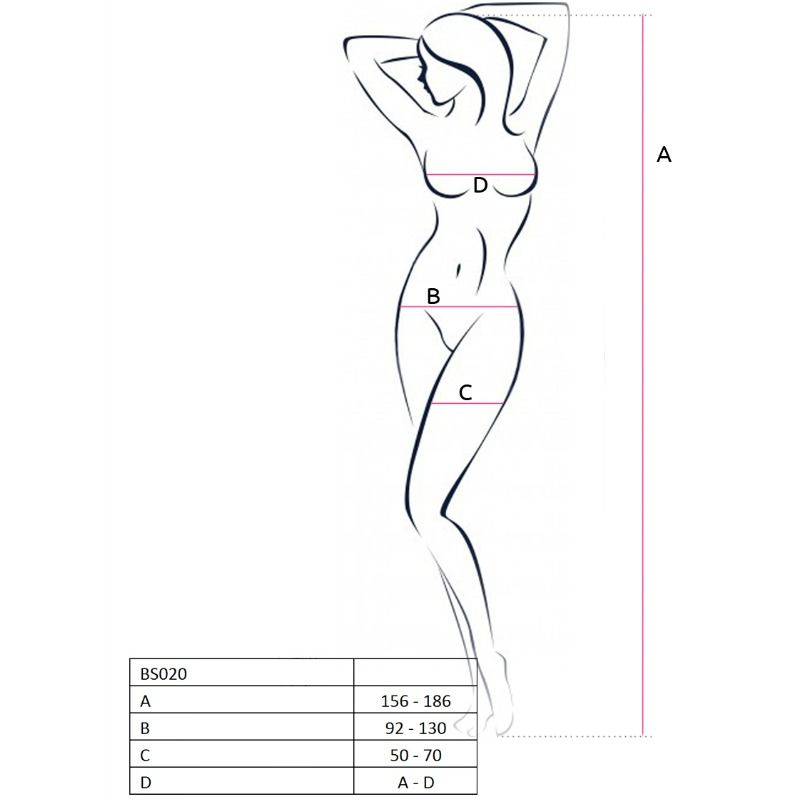 PASSION WOMAN BS020 BODYSTOCKING WHITE ONE SIZE