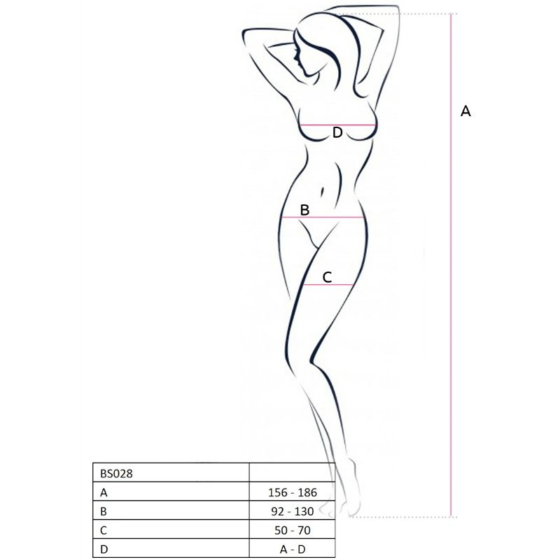 PASSION WOMAN BS028 BODYSTOCKING BLACK ONE SIZE