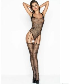 PASSION WOMAN BS034 BODYSTOCKING BLACK ONE SIZE