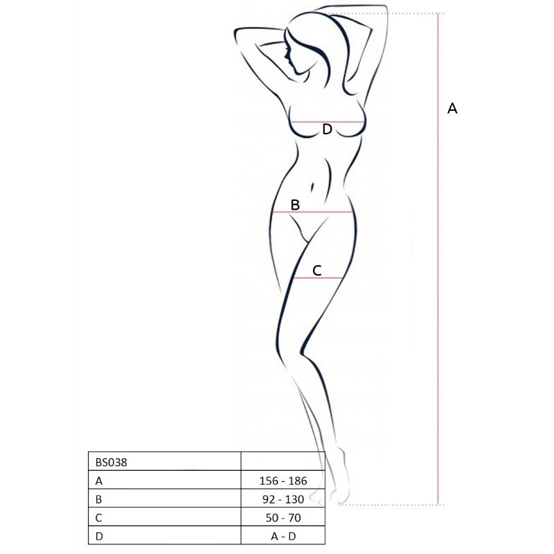 PASSION WOMAN BS038 BODYSTOCKING RED ONE SIZE