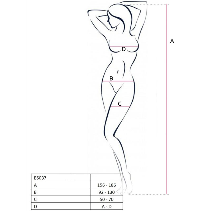 PASSION WOMAN BS037 BODYSTOCKING RED ONE SIZE