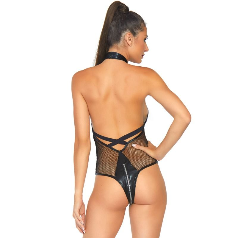 LEG AVENUE FISHNET PLUNGING X STRAP TEDDY S / M
