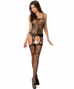PASSION WOMAN BS050 BODYSTOCKING - BLACK ONE SIZE