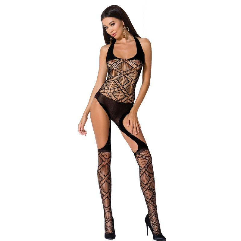 PASSION WOMAN BS060 BODYSTOCKING BLACK ONE SIZE