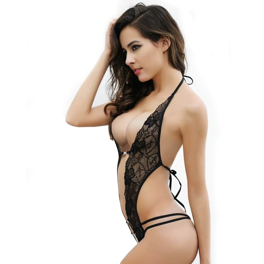 QUEEN LINGERIE CROTHLESS LACE TEDDY WITH RHINESTONE ONE SIZE