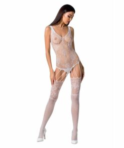 PASSION WOMAN BS074 BODYSTOCKING - WHITE ONE SIZE