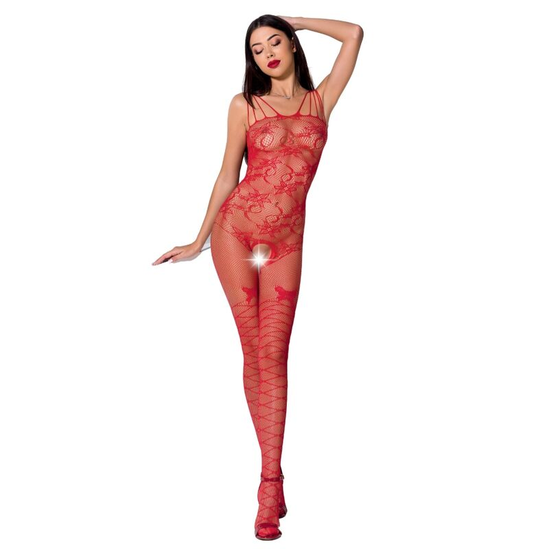PASSION WOMAN BS076 BODYSTOCKING - RED ONE SIZE