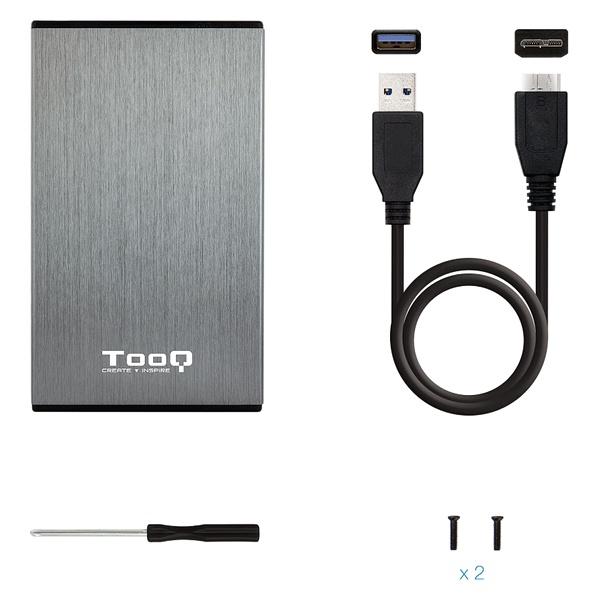 """Invólucro de Disco Rígido TooQ TQE-2527G 2,5"""" SATA USB 3.0 Preto"""