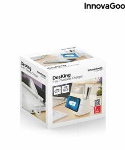 Carregador sem fios com Suporte-Organizador e Candeeiro LED USB 5 em 1 DesKing InnovaGoods