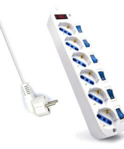 Extensão com 6 Tomadas com Interruptor Ewent EW3932-3M 3500W Branco