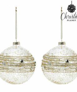 Bolas de Natal Christmas Planet 2386 10 cm (2 uds) Cristal Dourado