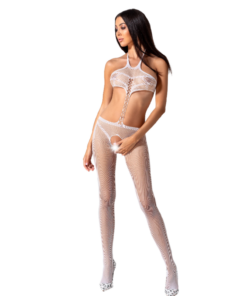 PASSION WOMAN BS080 BODYSTOCKING - WHITE ONE SIZE