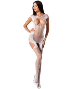 PASSION WOMAN BS082 BODYSTOCKING - WHITE ONE SIZE
