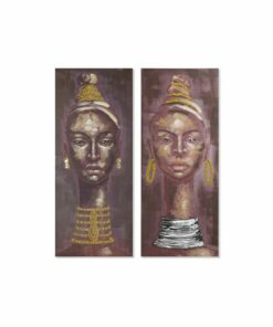 Pintura Dekodonia Mulher Étnica Multicolor (2 pcs) (55 x 3 x 135 cm)